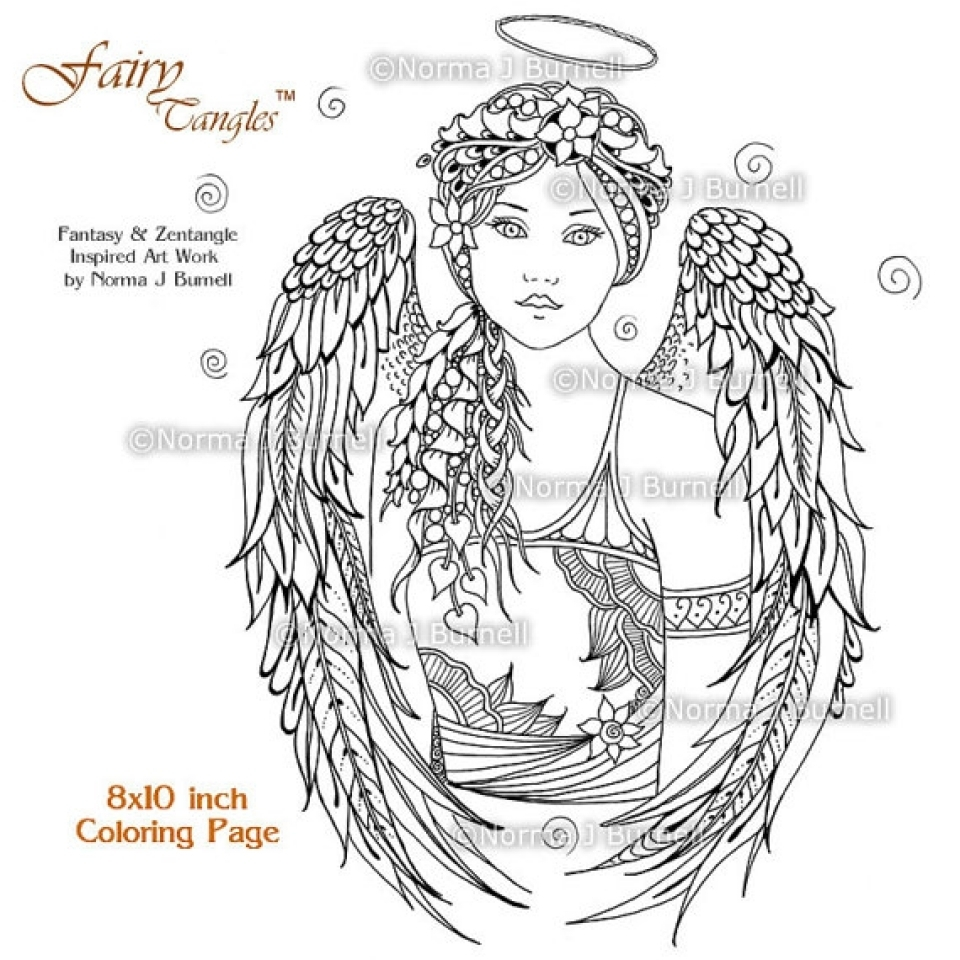23 angel coloring pages for adults collections free for Coloring page angel