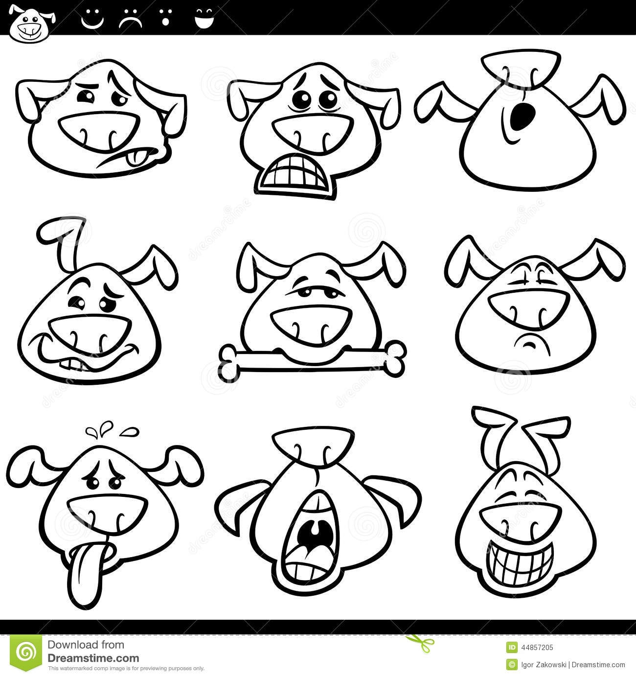 anger management coloring pages - stock illustration dog emoticons cartoon coloring page black white illustration funny dogs expressing emotions set book image