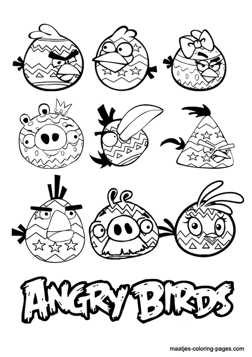 angry birds coloring pages - 復活節 應景的卡通著色塗鴉畫 免費下載