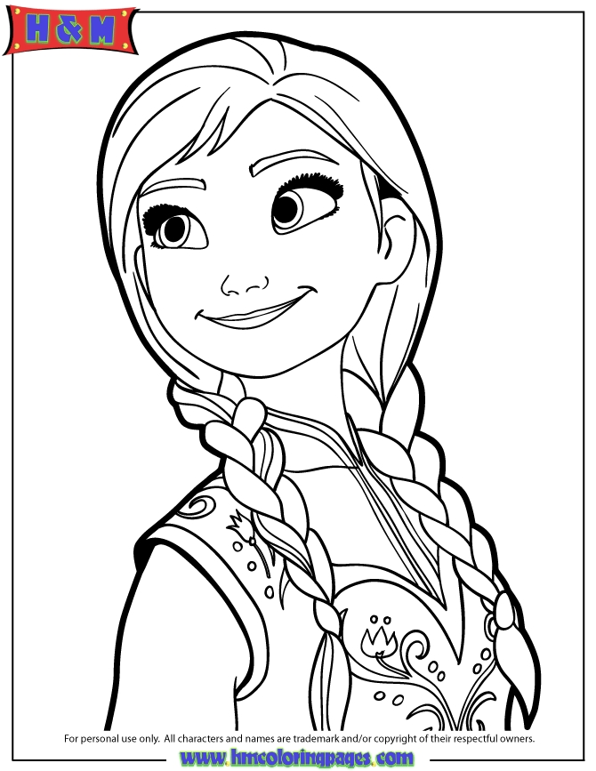 Anna Coloring Pages - Portrait Anna Coloring Page
