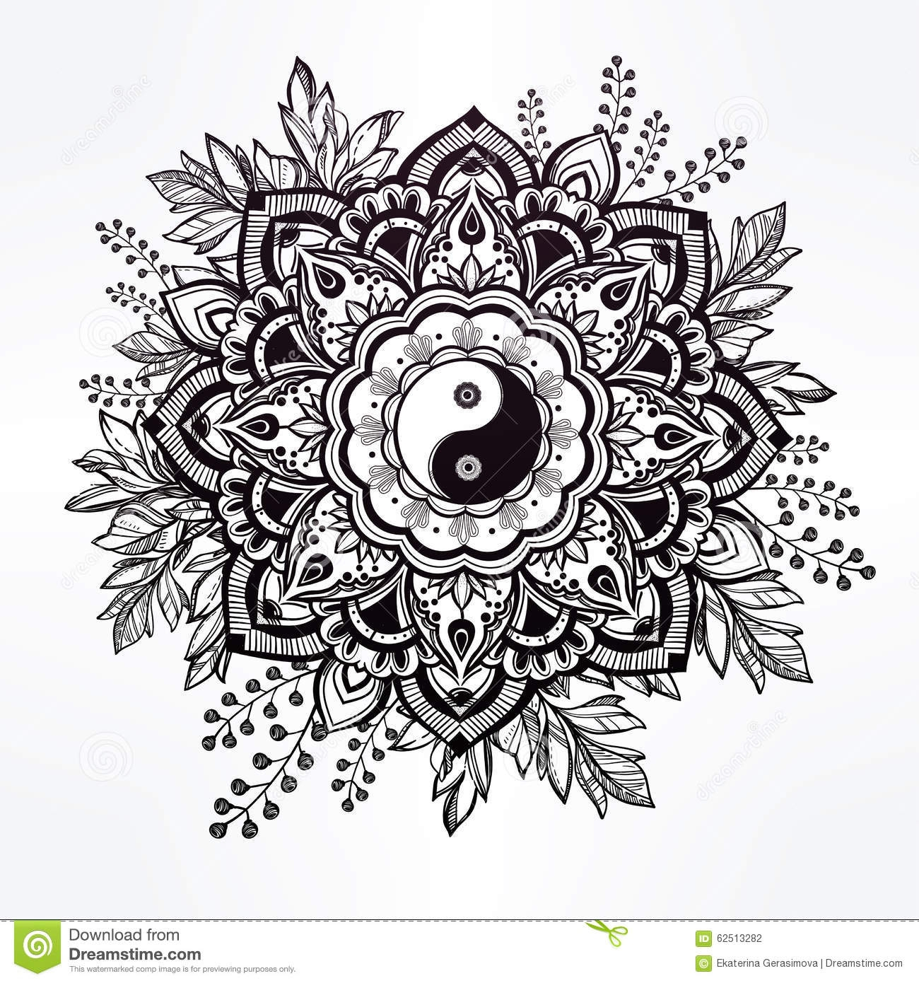 anxiety coloring pages - stock illustration ornate flower yin yang symbol hand drawn crown leaves tao isolated vector illustration invitation element image