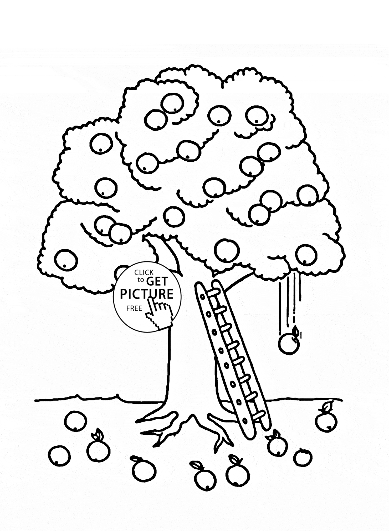apple tree coloring page - coloring page for kids apple tree