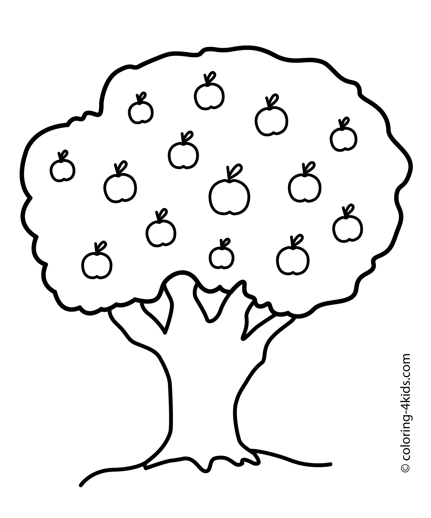 apple tree coloring page -