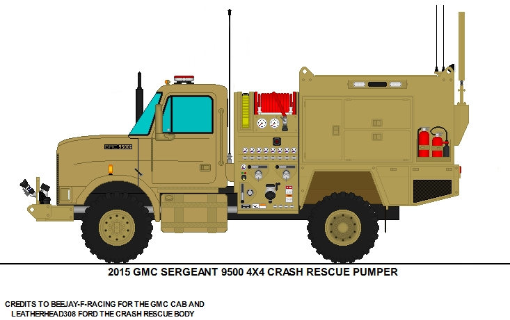 army coloring pages - GMC 9500 SERGEANT 4X4 CRASH RESCUE MILITARY TRUCK