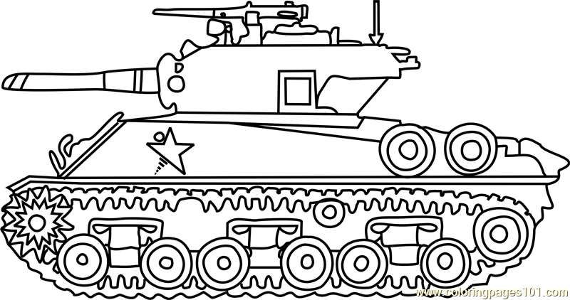 army tank coloring pages - m4 sherman army tank coloring page