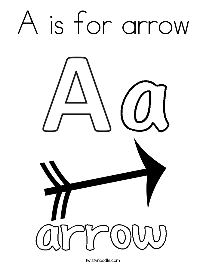 arrow coloring pages - a is for arrow 9 coloring page