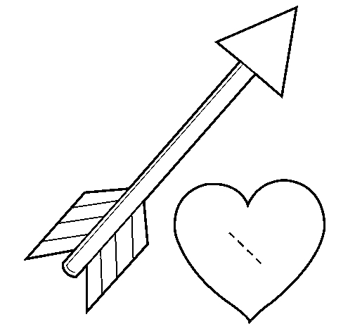 arrow coloring pages - r=hearts with arrows