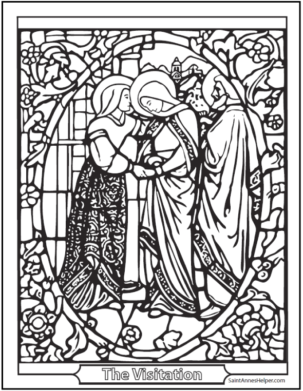 ash wednesday coloring pages - visitation stained glass coloring page
