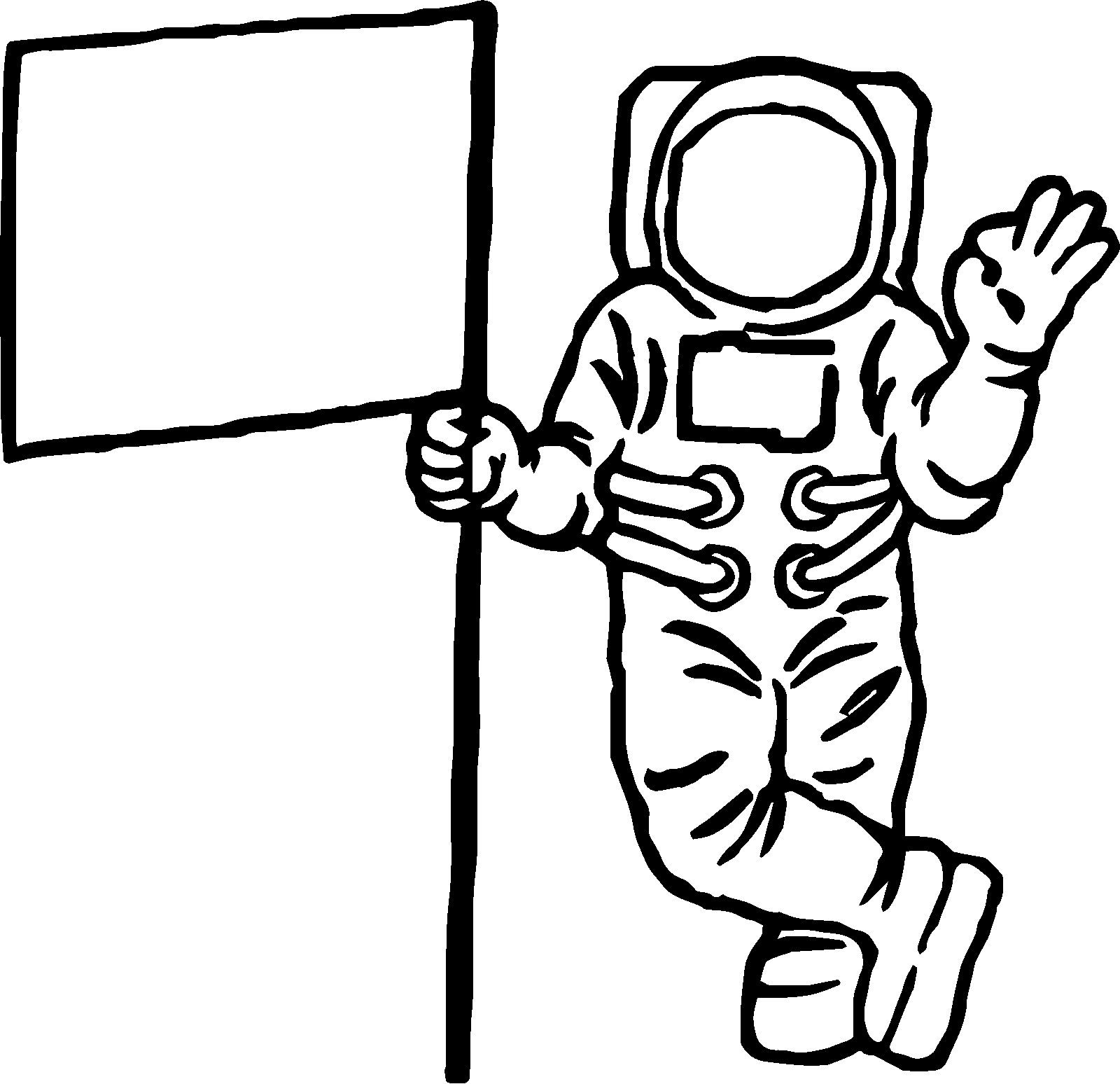 astronaut coloring pages - astronaut flag coloring page