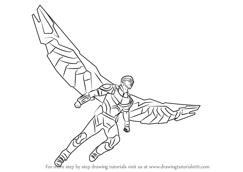atlanta falcons coloring pages - how to draw falcon from captain america civil war