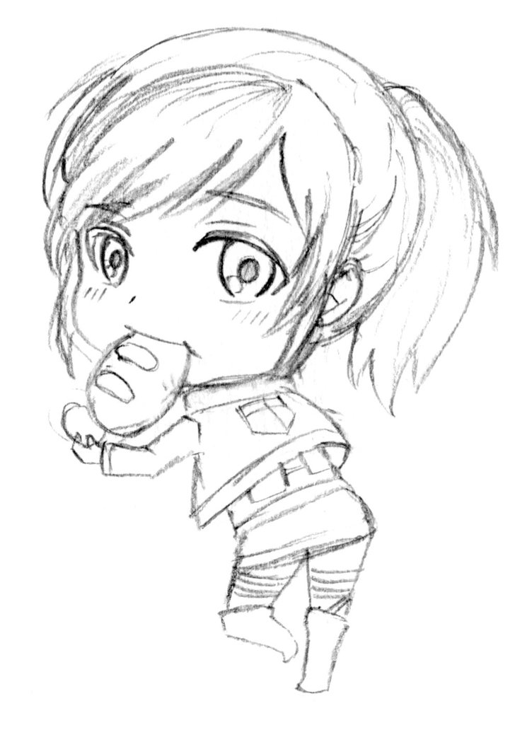 Attack On Titan Coloring Pages - Sasha Chibi attack On Titan by Zier2 On Deviantart
