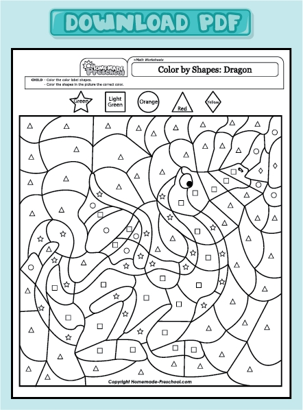 august coloring pages - math worksheets color by shapes dragon color by shapes dragon