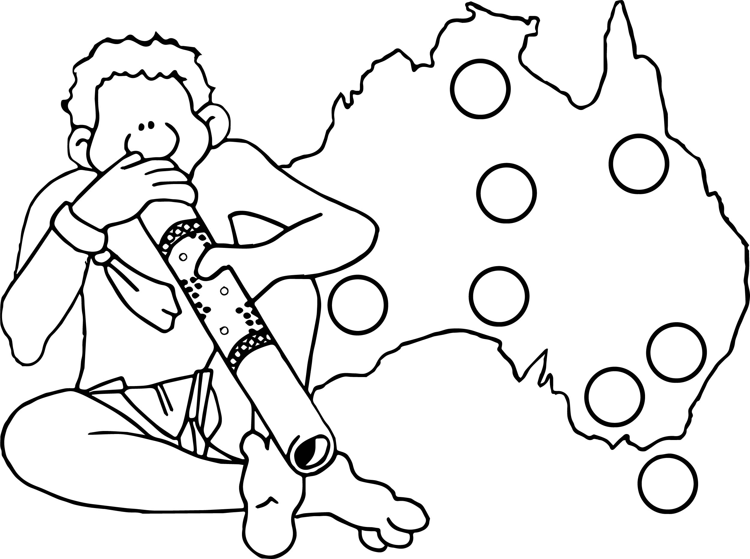 australia coloring pages - australia map man aboriginal coloring page