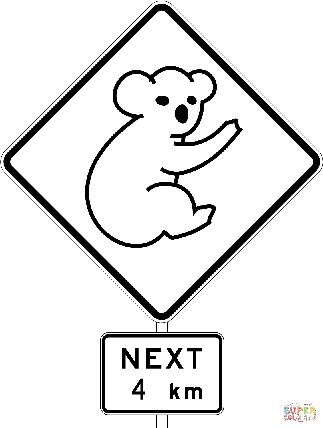 australia coloring pages - australia road sign with koala