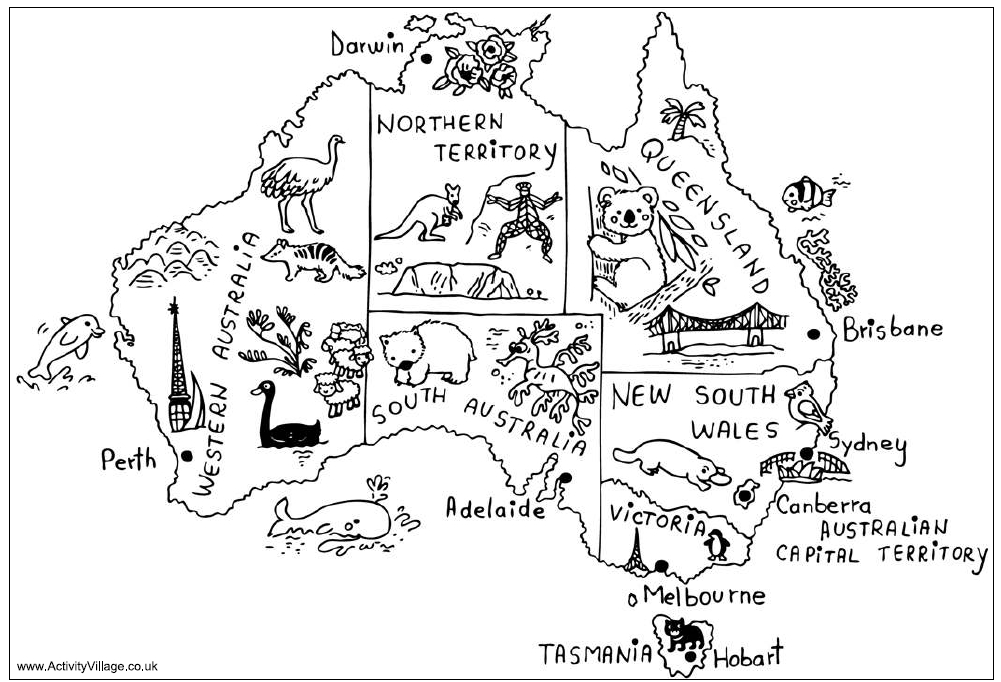 Australia Coloring Pages - Oceania Para Colorear Imagui