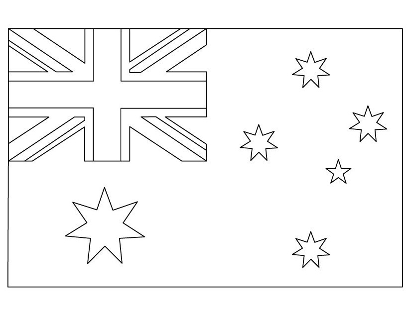 Austrlian Flag Coloring Page - Worksheet & Coloring Pages