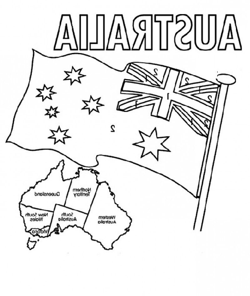 Australia Flag Coloring Page - Printable Australian Flag Coloring Home