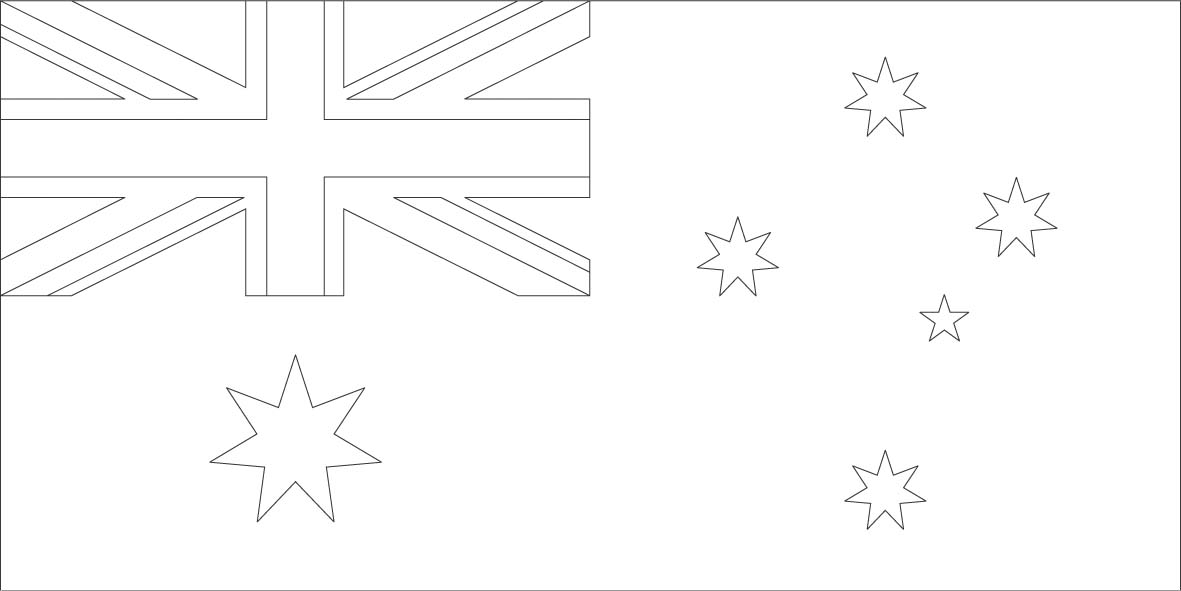 australia flag coloring page - world flags coloring pages