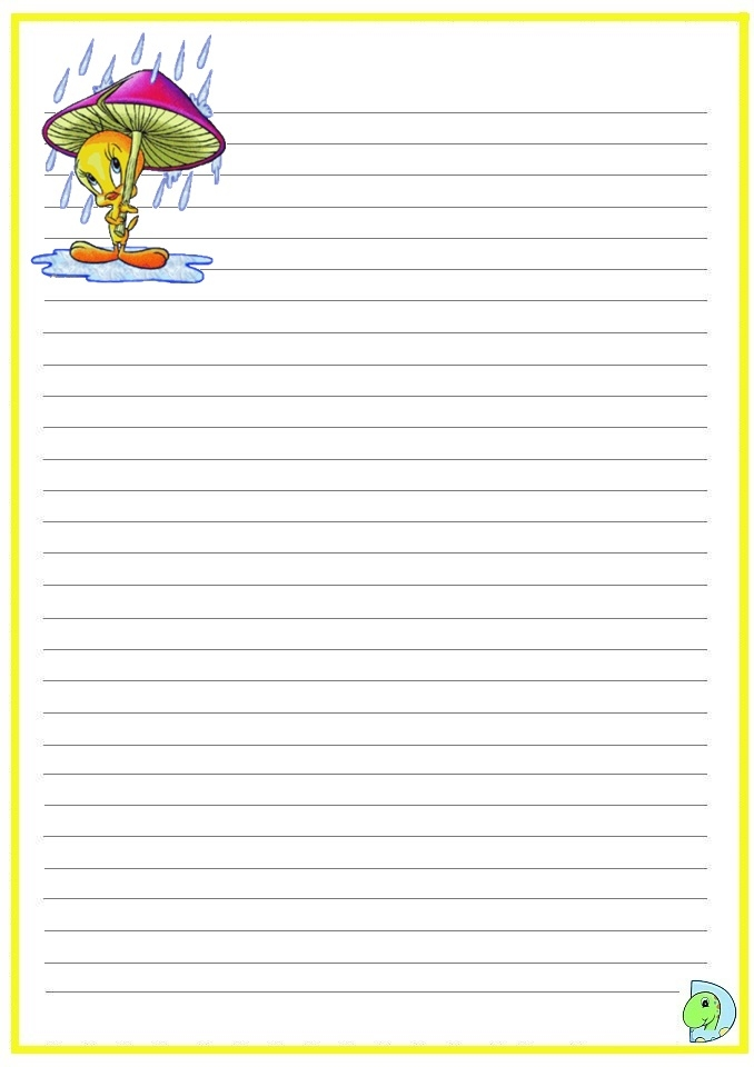 B Coloring Page - Tweety Writing Paper Tweety Handwriting Paper Dinokids