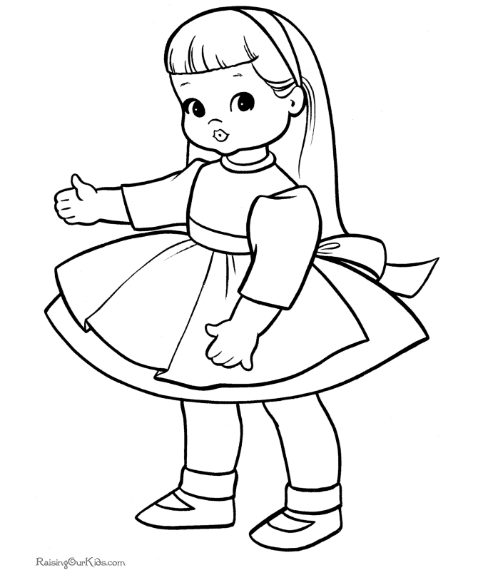 baby doll coloring page - 021 doll coloring sheet