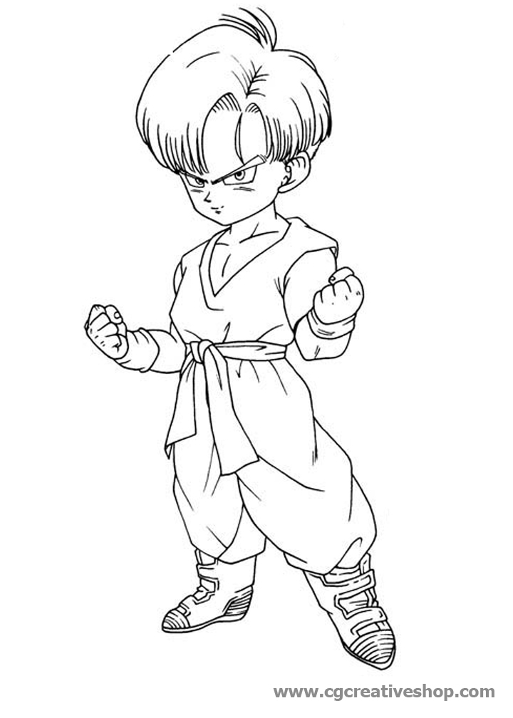 baby dragon coloring pages - 5156 trunks dragon ball disegno da colorare