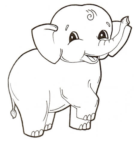baby elephant coloring pages - elephant calf