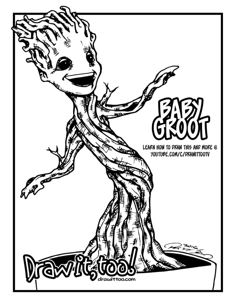 baby groot coloring page - i am groot
