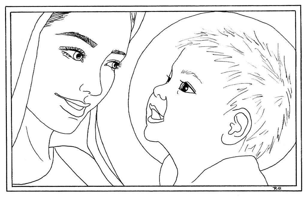 baby jesus coloring pages - Mary and baby Jesus coloring page