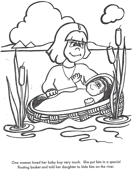 baby moses coloring page - baby moses