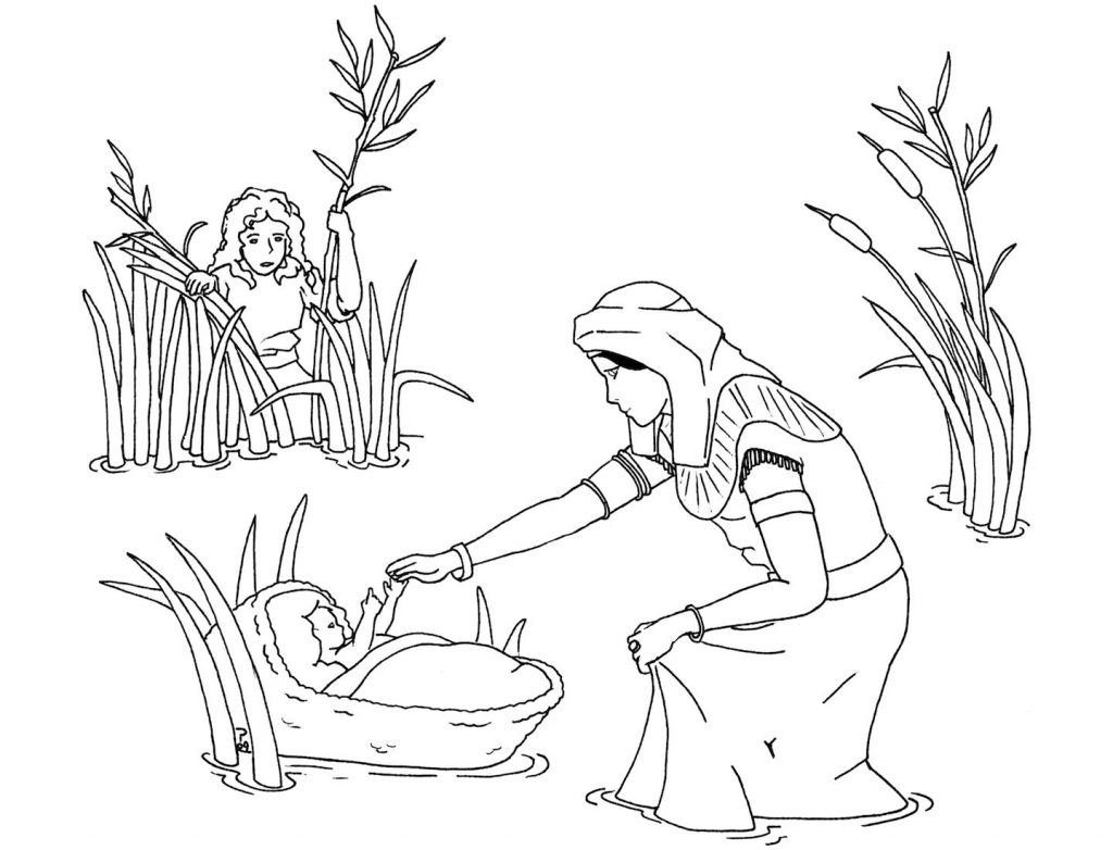 baby moses coloring page - moses coloring pages