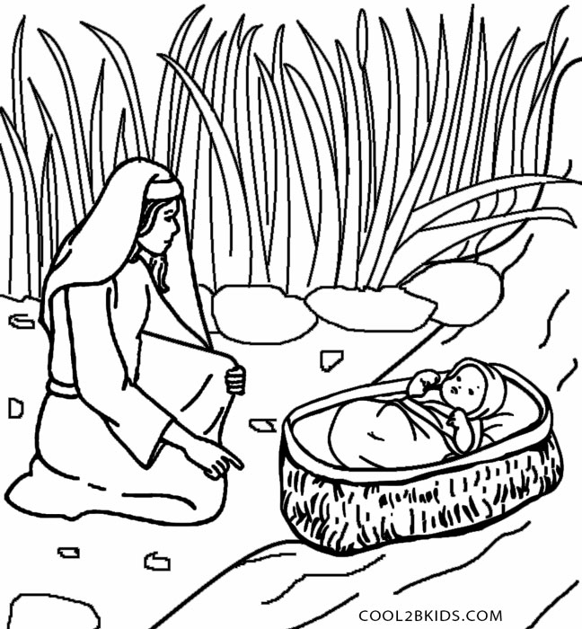 Baby Moses Coloring Page - Printable Moses Coloring Pages for Kids