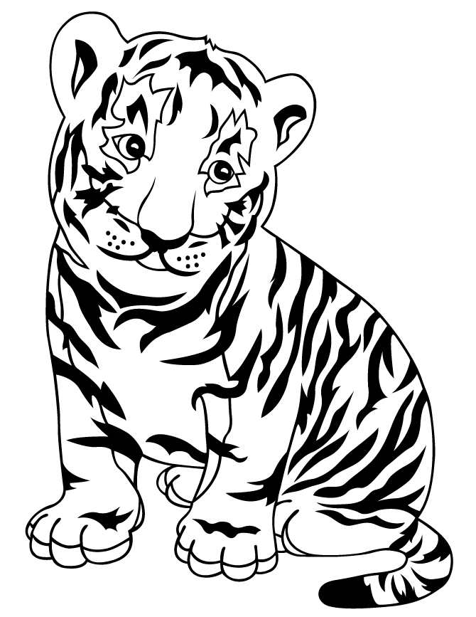 baby tiger coloring pages - baby tiger cub