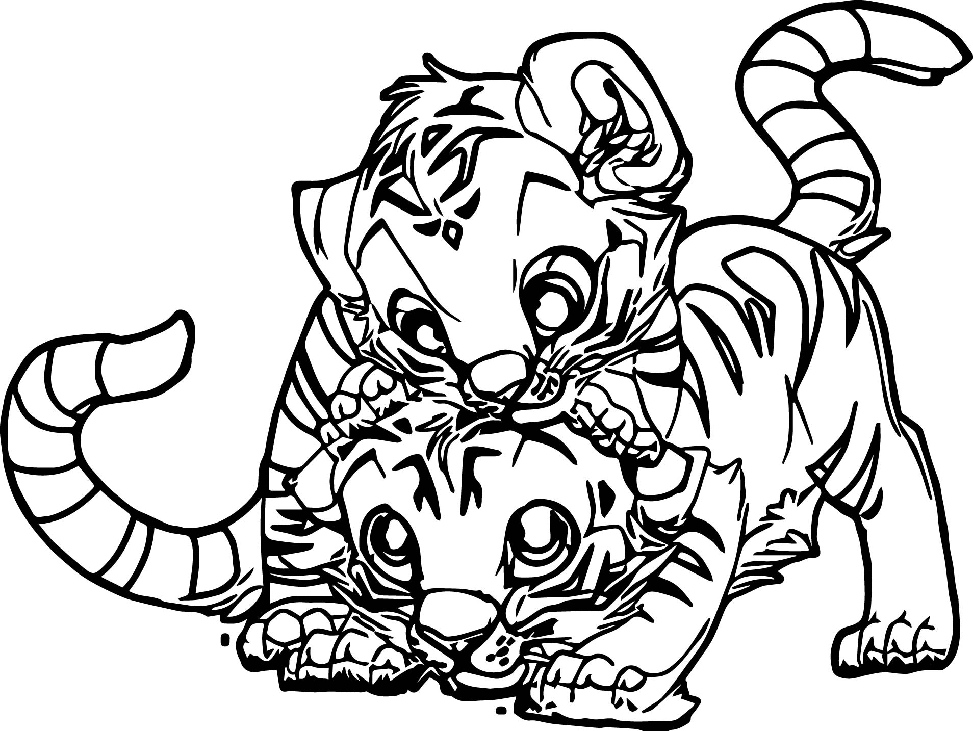 baby tiger coloring pages - two baby tiger coloring page