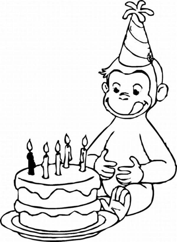 backpack coloring page - curious george and birthday cake coloring page
