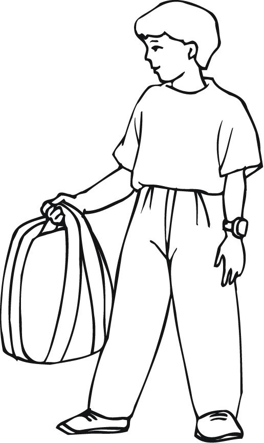 backpack coloring page - outline of a boy