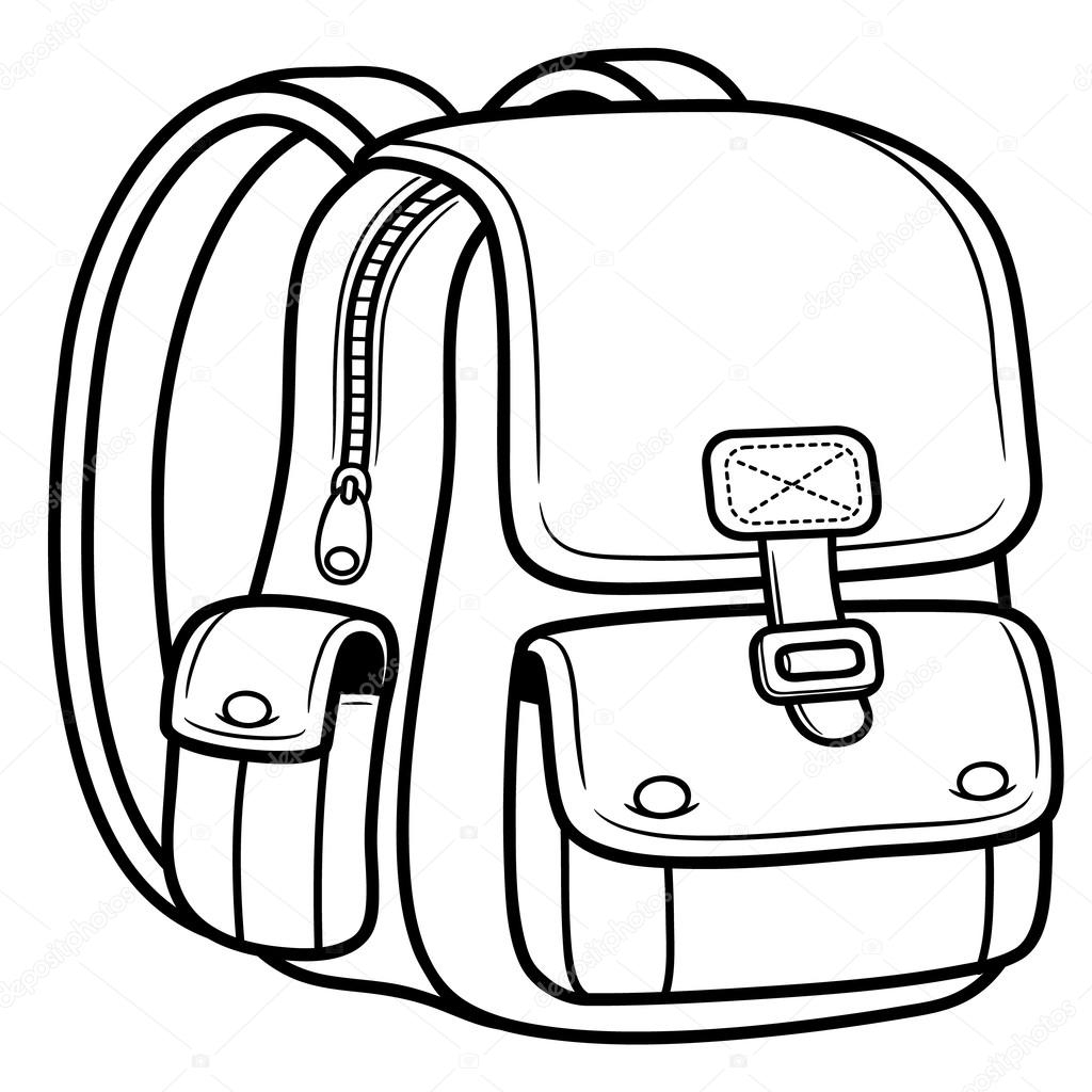 backpack coloring page - stock illustration school bag back to school