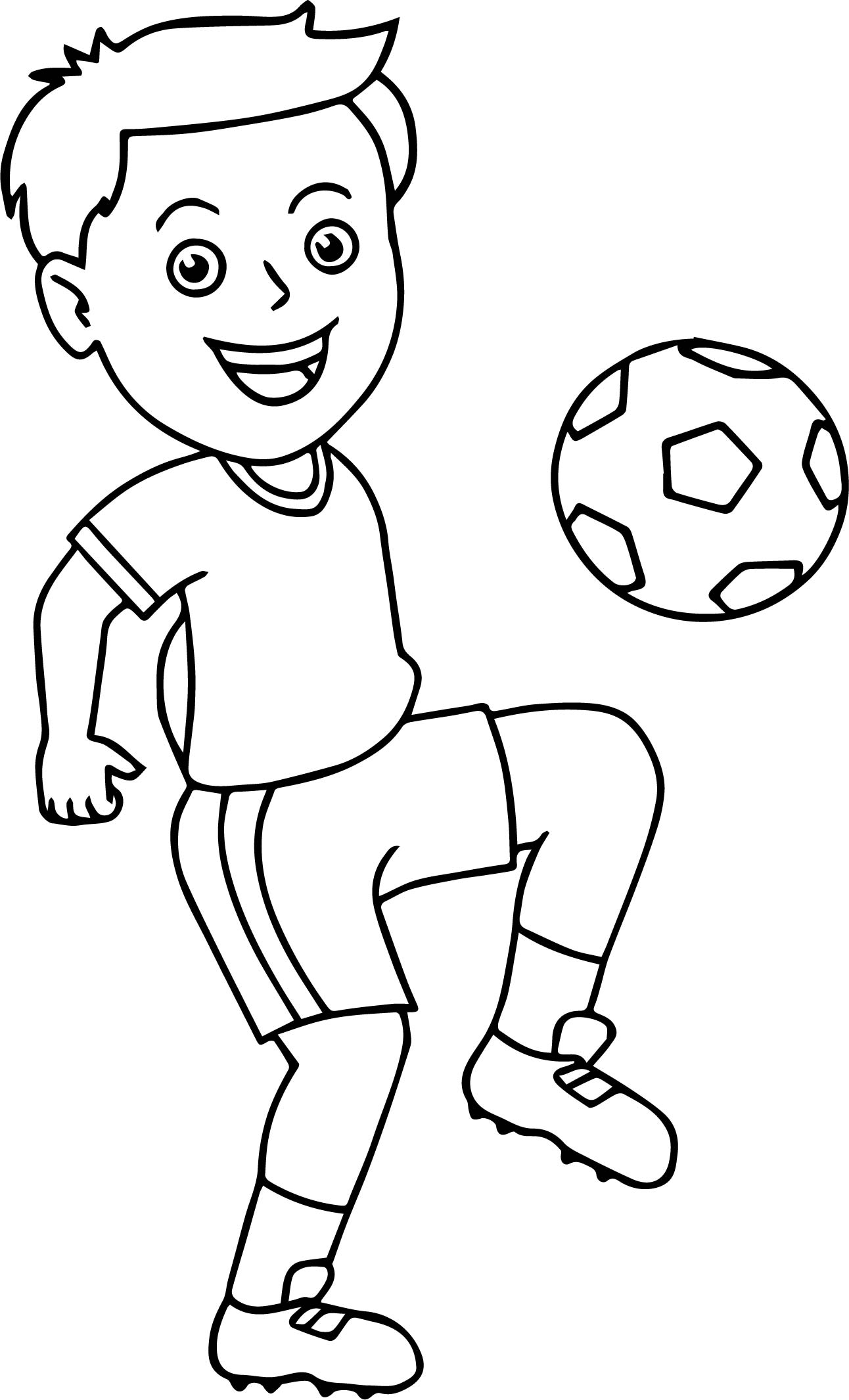 Ball Coloring Pages - soccer Boy Bouncing soccer Ball His Knee Playing