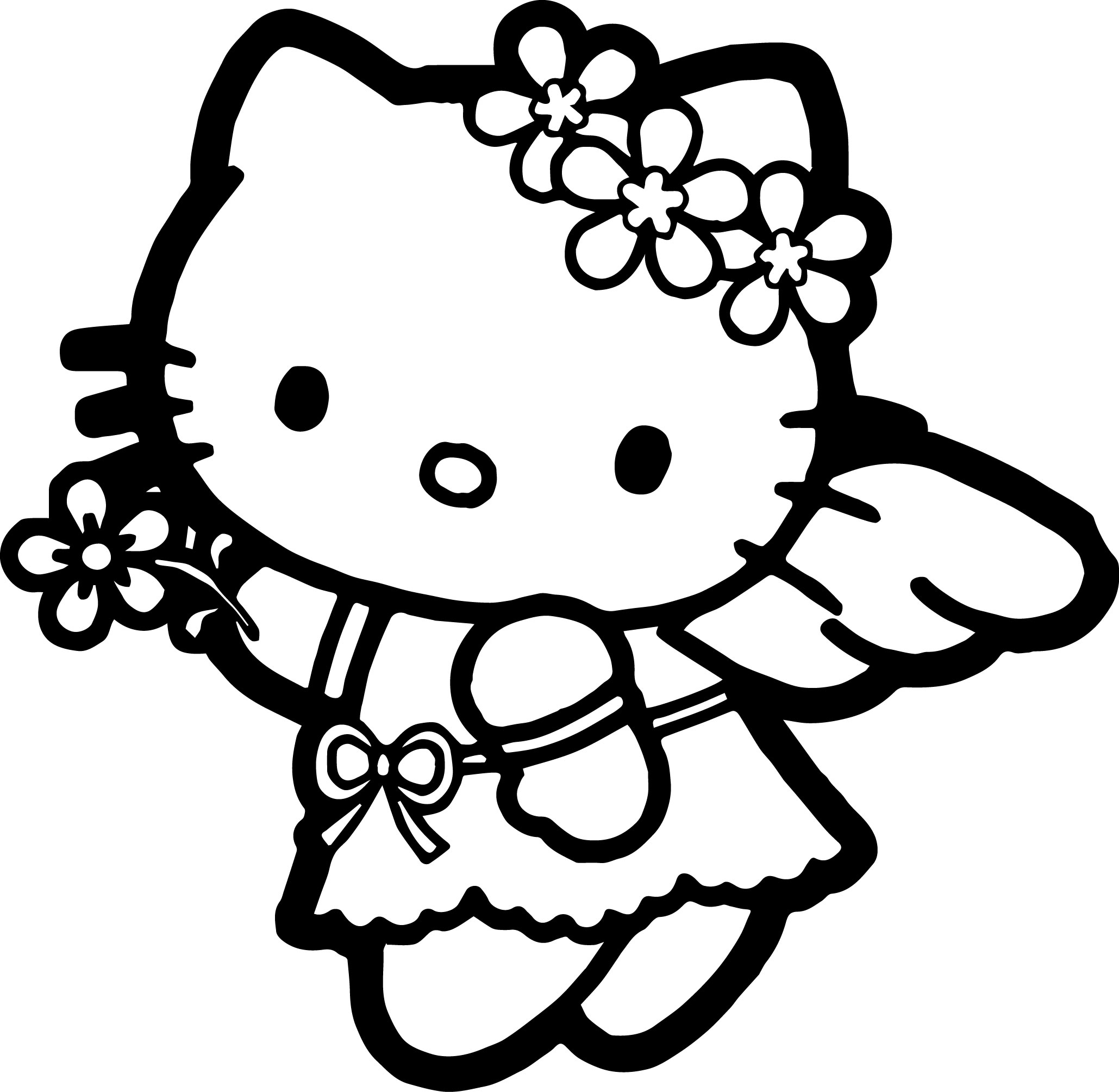 ballerina coloring pages - hello kitty coloring page