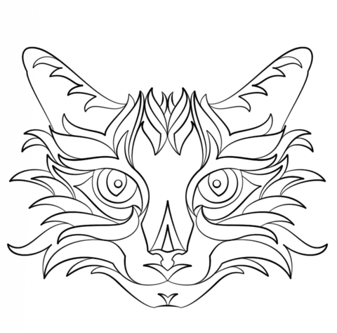 ballet coloring pages - abstract cat