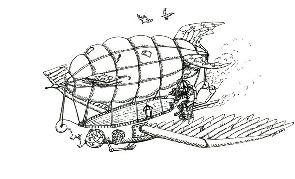 balloon coloring pages - steampunk airship ink