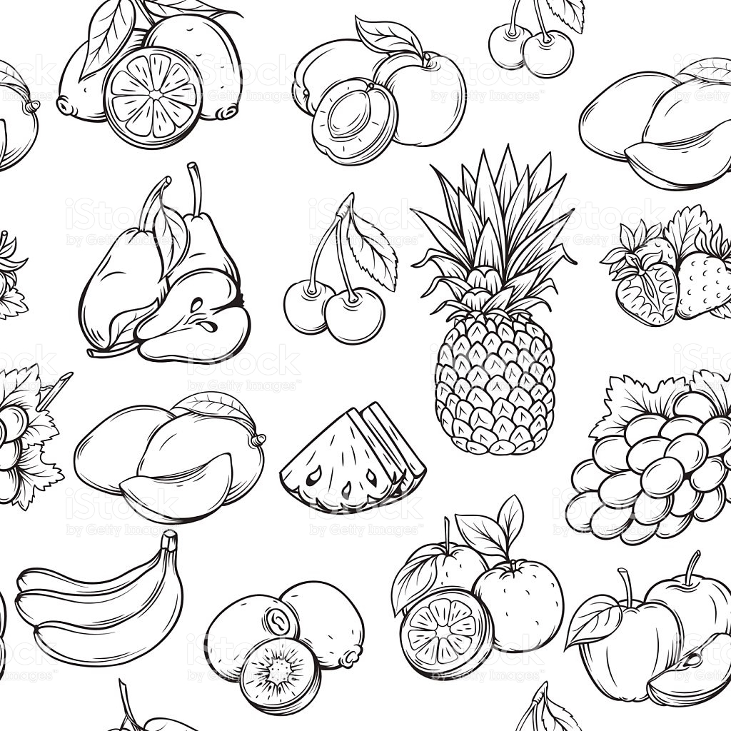 banana coloring page - hand draw fruits pattern gm