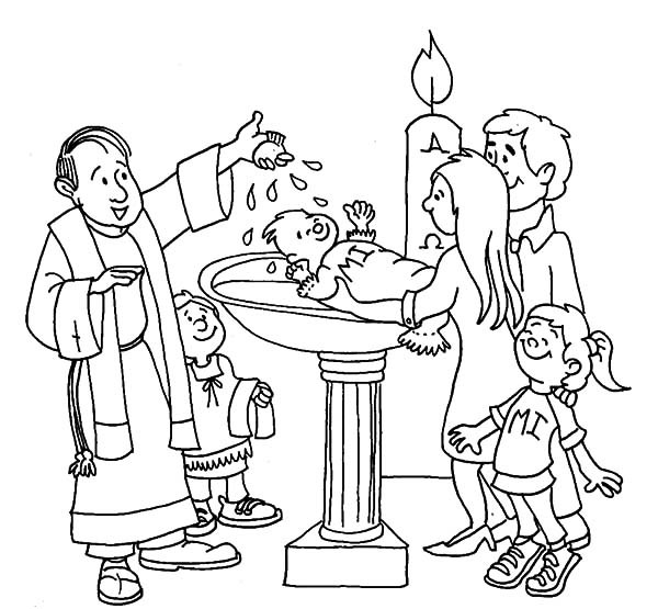 baptism coloring pages - jesus baptism