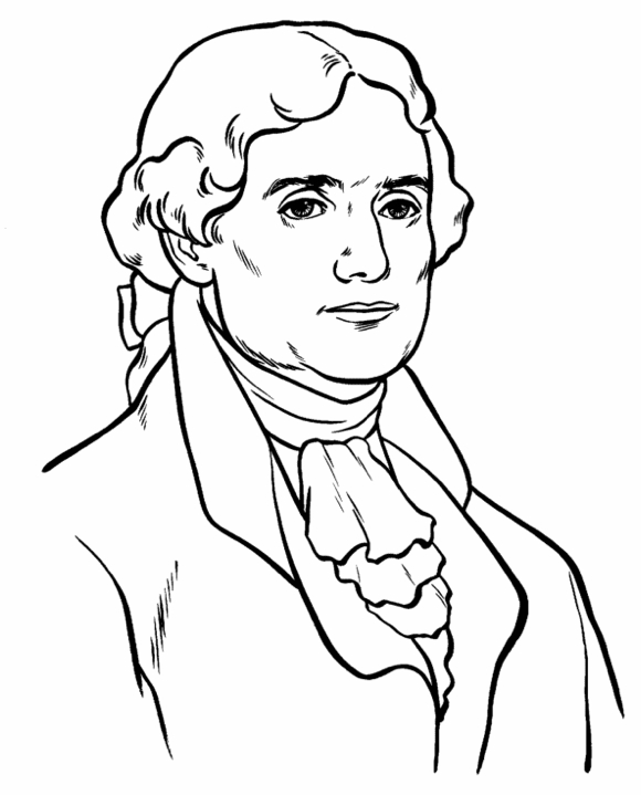 barack obama coloring page - us president thomas jefferson coloring page
