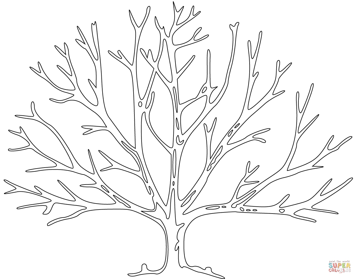 bare tree coloring page - bare tree 2