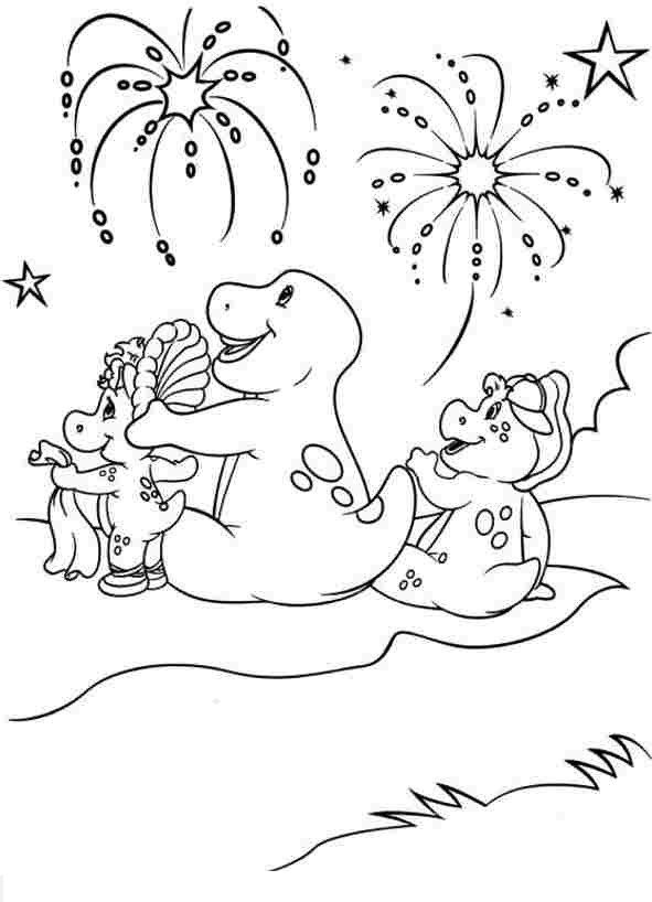 barney coloring pages - hinh mau khung long vui ve barney cho be