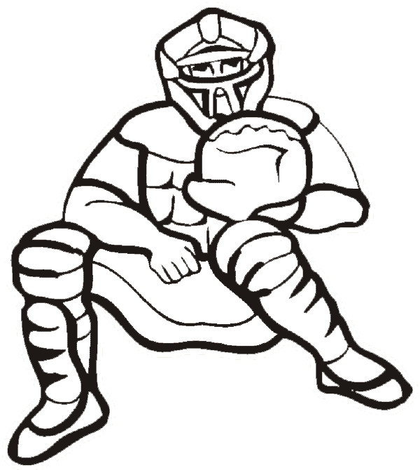 baseball coloring pages - catcher