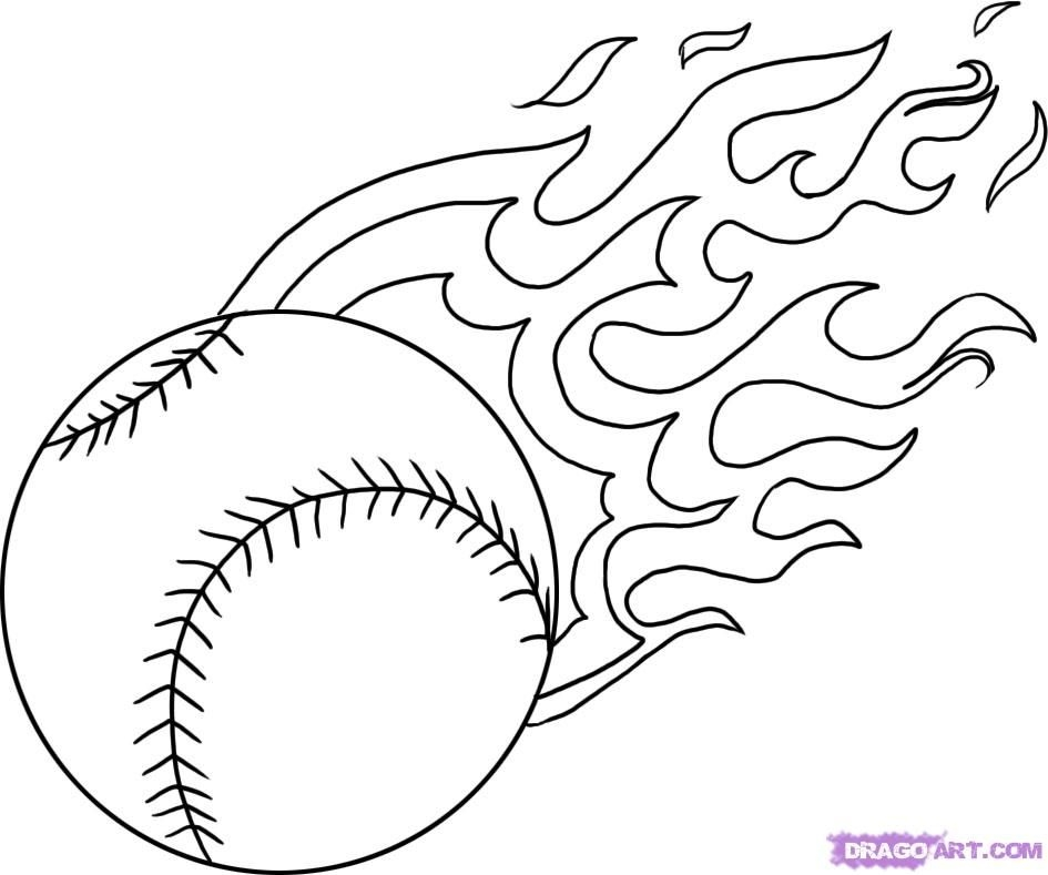 baseball coloring pages - flames coloring pages