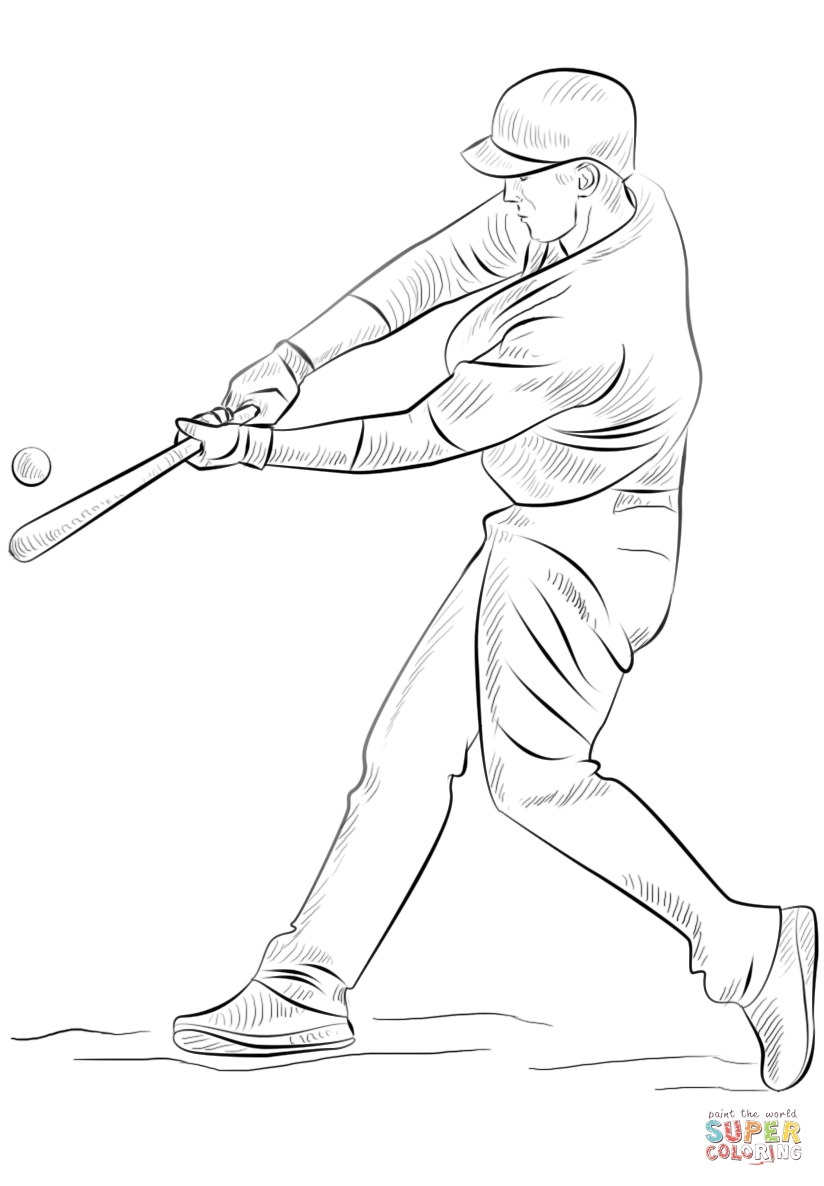 baseball player coloring pages - coloring page of a baseball player