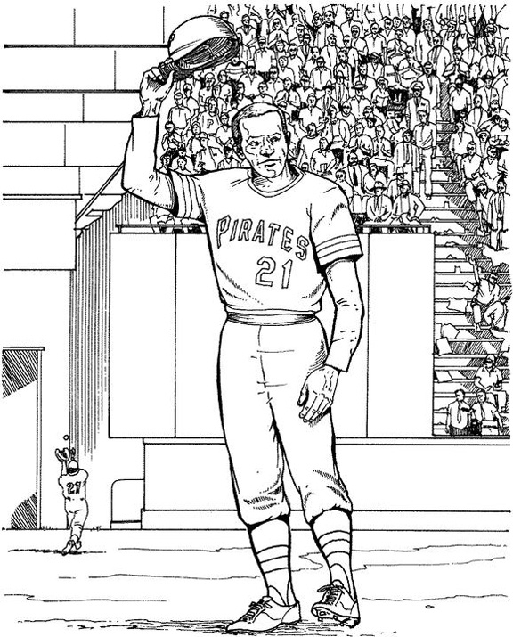 Baseball Player Coloring Pages - Pittsburgh Pirates Player Baseball Coloring Page