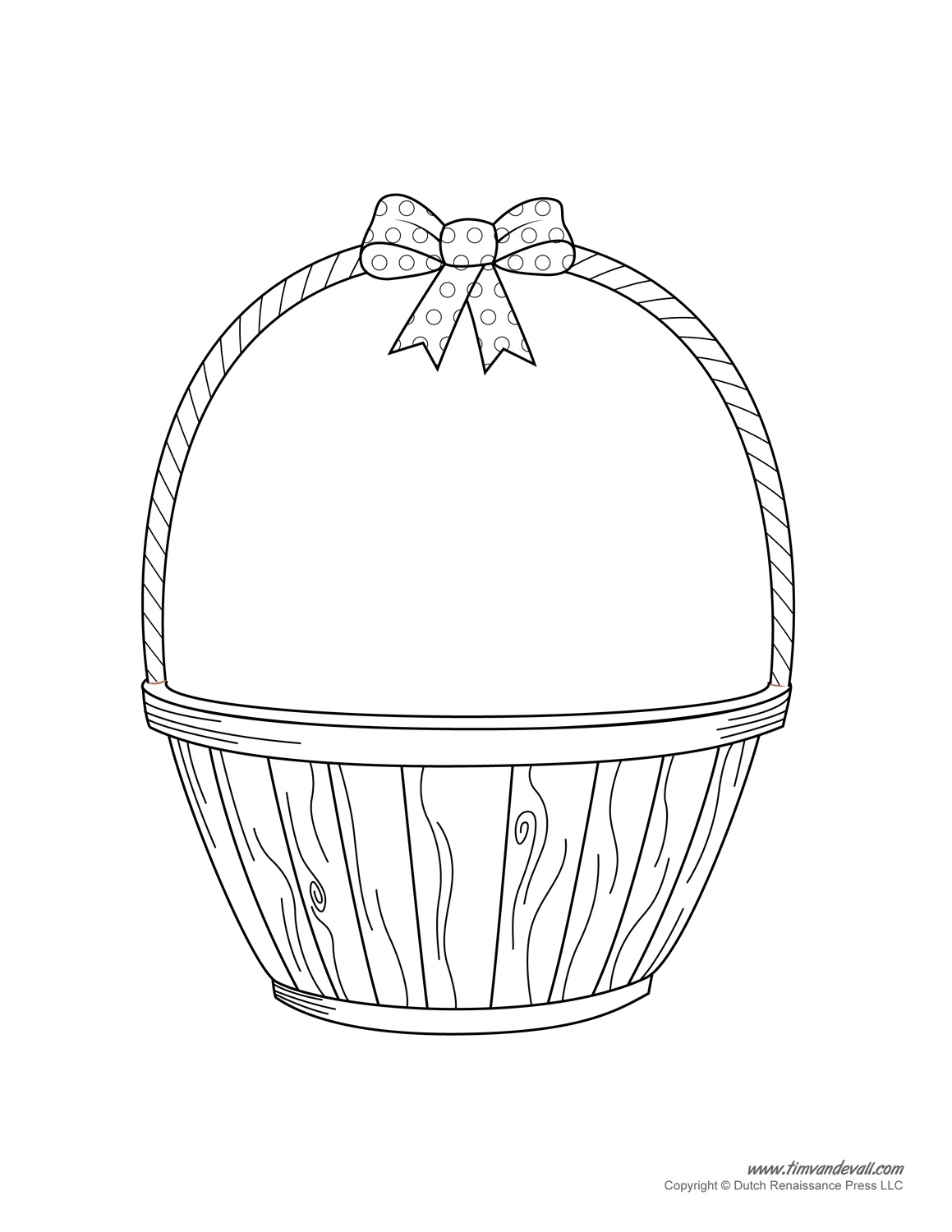 basket coloring page - empty basket coloring page
